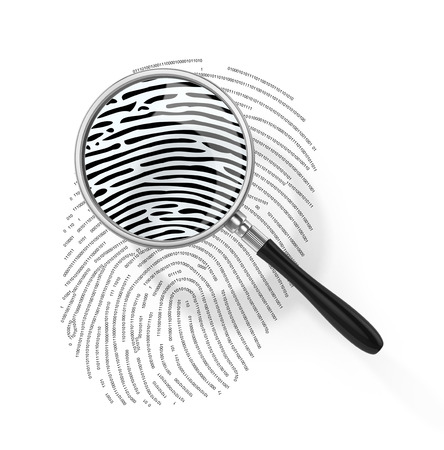 theft proof: Magnifying glass over finger printlike shape made of binary code. 3d illustration