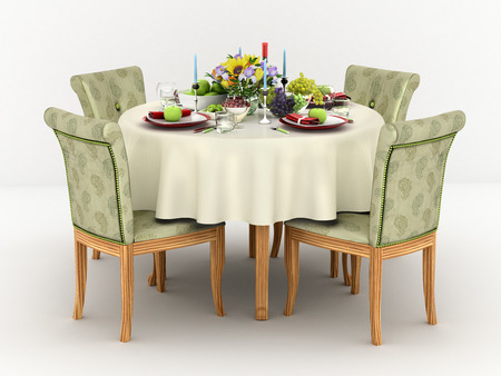 wedding table setting: 3d illustration of Serving a round dining table for four persons Stock Photo