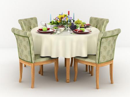 4 명에 대한 원형 식탁 봉사의 3d 그림 스톡 콘텐츠