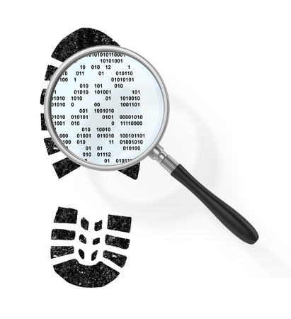 boot print: Magnifier over boot print in form of binary code in field of view magnifying glass. Find the hacker. 3d illustration Stock Photo