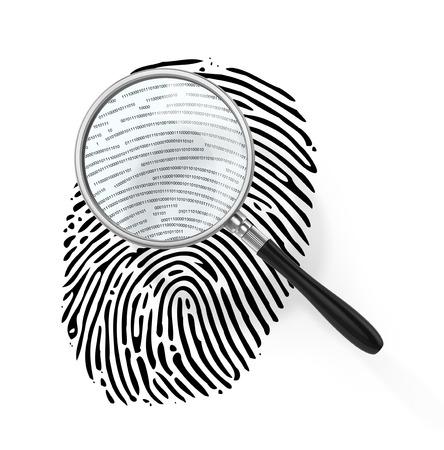 finger proof: Magnifying glass over finger print like shape made of binary code. 3d illustration
