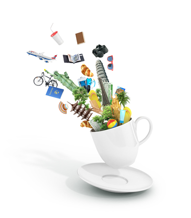 The most popular travel attractions with other objects flying from the cup of coffee. Dream to travel. 3d illustration