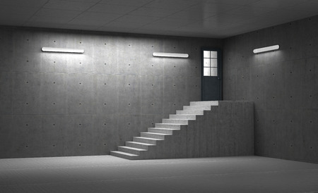 leading light: Concrete room with staircase leading to the closed door with light. 3d illustration