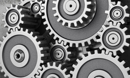 machined: Mechanism of gears. 3d illustration Stock Photo