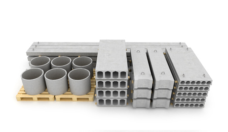 concrete block: Reinforced concrete items on white background. 3D illustration