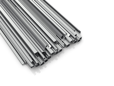 hardness: Metal products for building on a white background. Building materials. 3d illustration Stock Photo