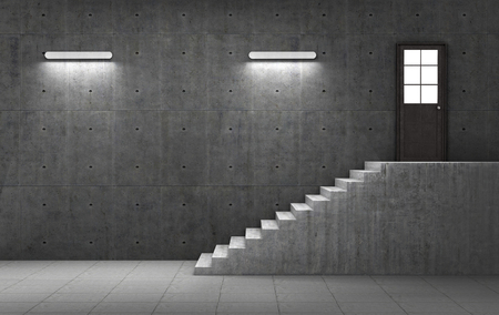 concrete stairs: Dark concrete room with stairs leading to the door with light. Business concept. 3d illustration Stock Photo