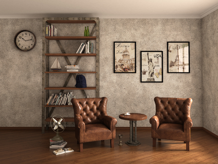 Home library with armchairs. Clean and modern decoration. 3d illustration 스톡 콘텐츠