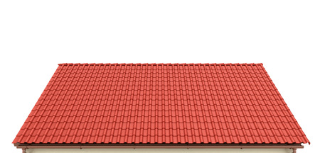 Roof of red tiles on a white background. 3d illustration