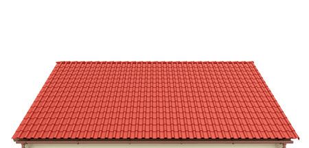 Techo de tejas rojas sobre un fondo blanco. 3d ilustración