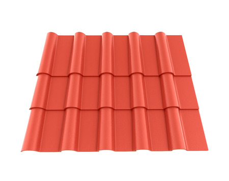 tile roof: Roof tile isolated white background. 3D illustration