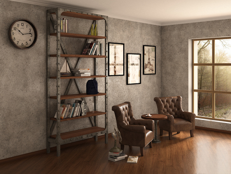 clean home: Home library with armchairs. Clean and modern decoration. 3d illustration Stock Photo
