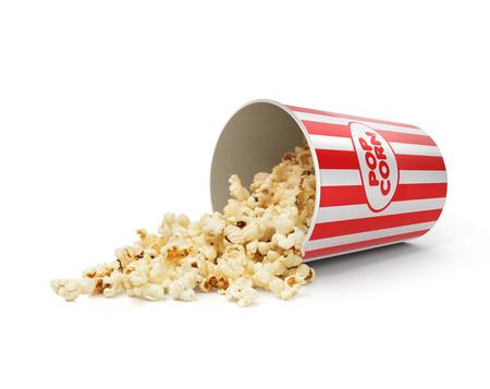 Popcorn in striped bucket on white background Stock Photo