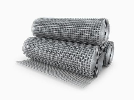 welded: Galvanized welded wire mesh twisted into a roll on a white background. 3D illustration