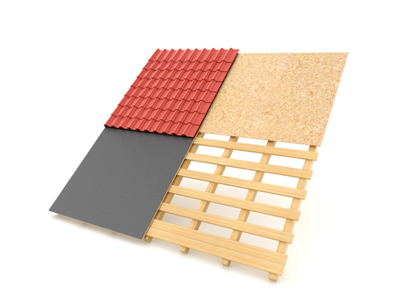 plaster board: Technology roofing tile roof on a white background. 3d illustration