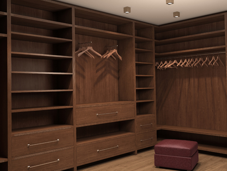 checkroom: Empty dressing room; interior of a modern house. 3d illustration