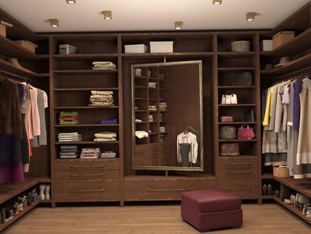 dressing room: dressing room, interior of a modern house. 3d illustration