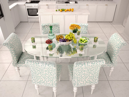 kitchenette: Serving a glass table in white kitchen. 3d illustration