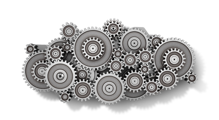 machined: Mechanism of gears in form of cloud isolated on a white background. 3d illustration Stock Photo