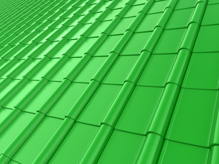 architectural styles: The roof of green tiles. 3D illustration