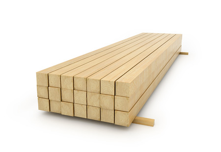 skid: Wooden beams for the building on a white background. 3D illustration