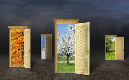 many doors: Many doors with different seasons on a grange background. Select the path.