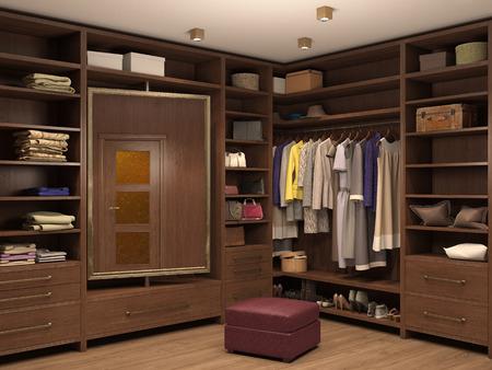 vestidor, interior de una casa moderna. 3d ilustración Foto de archivo