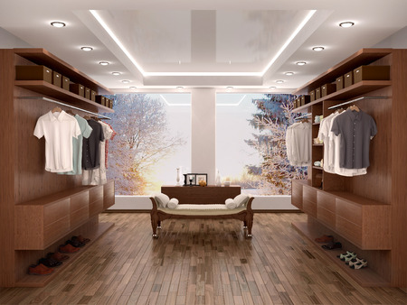 checkroom: wide closet with a large window, modern home interior. 3d illustration