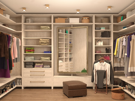 white, dressing room, interior of a modern house. 3d illustration