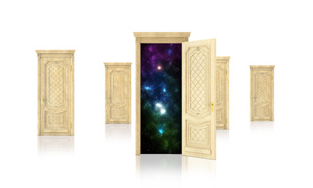 abyss: Concept of dreaming. Open door surrounded by closed doors isolated on white background. Concept of path. Stock Photo