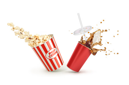 red straw: Red Paper cup with cola splash and falling Popcorn in box isolated on white background