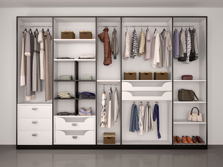 closets: black and white wardrobe closet full of different things. 3d illustration.
