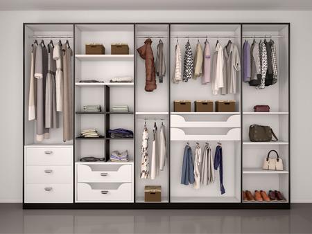 zwart-witte garderobe kast vol met verschillende dingen. 3D-afbeelding.