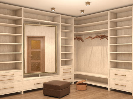 dressing room: Empty white dressing room; interior of a modern house. 3d illustration Stock Photo