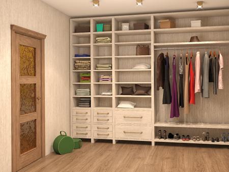 vestidor, interior de una casa moderna. 3d ilustración