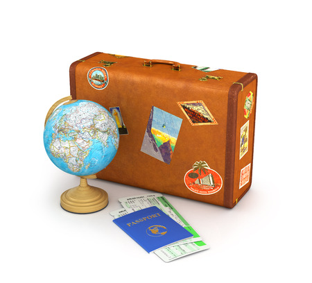 map case: Suitcase for travel. Globe, passport and tickets near the suitcase isolate on a white background. 3d illustration
