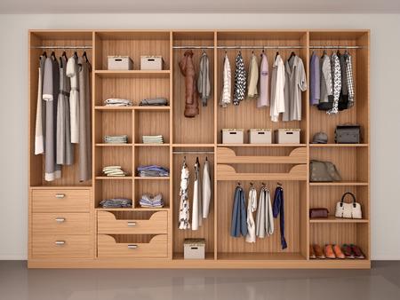 madera armario ropero lleno de cosas diferentes. 3d ilustración