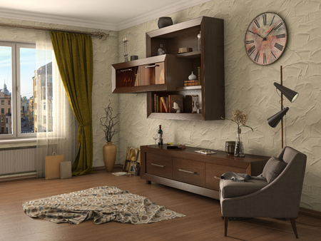 furnished: Living room modern style, 3d illustration