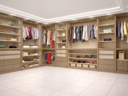 filled with wardrobe in a modern style. 3d illustration
