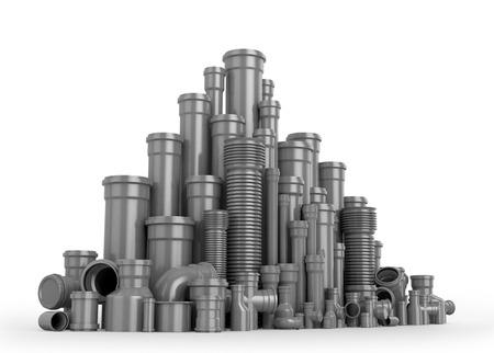 kunststoff rohr: Kunststoff-Rohr auf wei�em Hintergrund. Wasserrohre. 3D-Darstellung.