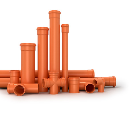 plastic pipe: Plastic pipe on white background. Water pipes.3d illustration.