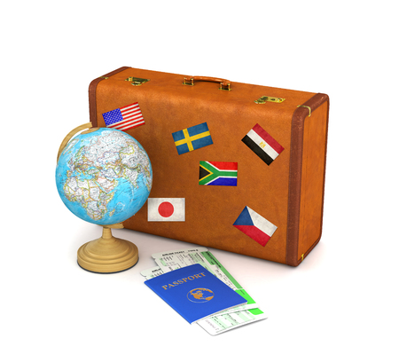 Suitcase for travel. Globe, passport and tickets near the suitcase isolate on a white background. 3d illustration
