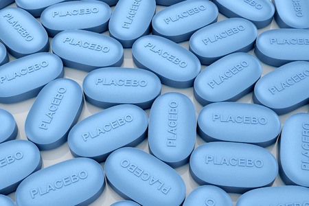 placebo: The blue pill called a placebo. 3D illustration