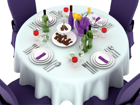 wedding table setting: Serving a festive table in purple color. 3d illustration Stock Photo