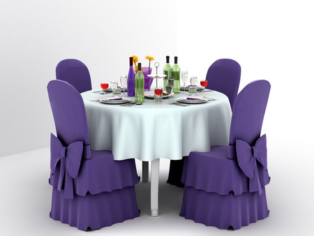 wedding reception decoration: Serving a festive table for four persons. 3d illustration