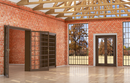 large doors: Loft studio interior in an old house. Large windows and doors, brick red wall. Wood beams on the ceiling. 3d illustration
