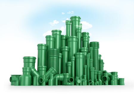 sanitary engineering: Green plastic tubes as mountains or trees, the sky and clouds. 3D illustrations. Stock Photo