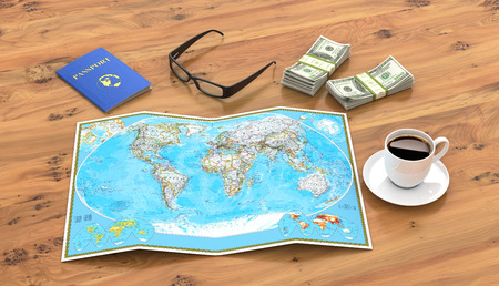 homeland: travel, vacation travel, tourism layout - close-up map of the world, passport, money, a cup of coffee or tea and glasses on a wooden table. 3d illustration Stock Photo