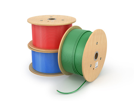 Wooden electric cable reels isolated white background. 3D Illustration