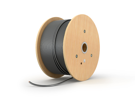 Wooden coil of electric cable isolated white background. 3D illustration. Archivio Fotografico
